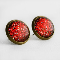 Frosted Cranberry Post Earrings in Antique Bronze - Red, Silver and Multicolor Glitter Stud Earrings