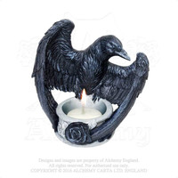 Alchemy Gothic The Vault Raven Crow T-Light Candle Holder Nevermore