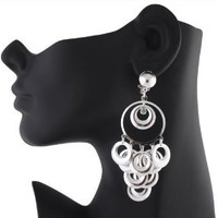 Ladies Silver Multiple Rings with Stone Clip on Earrings: Jewelry: Amazon.com