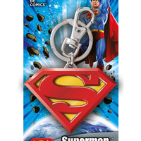 DC Colored Superman Logo Pewter Keychain