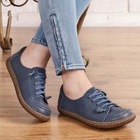Dwarves Women'S Handmade Leather Lace Up Flats Round Toe Brown/Blue