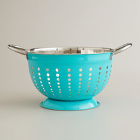 Aqua Stainless Steel Colander - World Market