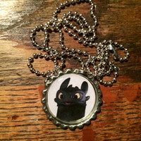 Toothless How To Train Your Dragon bottlecap necklace