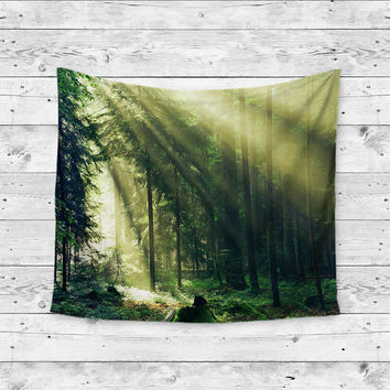 Light Into The Woods Forest Trees Wanderlust Boho Gypsy Unique Dorm Home Decor Wall Art Tapestry