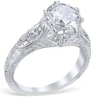 Whitehouse Brothers Venetian Crown Vintage Style Engagement Ring