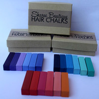 SALE - Three 6pc. Hair Chalk Sets - Shades of Red/Pink, Blue/Teal and Purple/Periwinkle