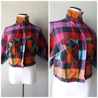 Cropped Flannel Blouse Vintage 80s Buffalo Plaid Button Down Womens Top Size S/M Small Medium Boxy Fit 1980s Shirt Hipster Boho Multi Color