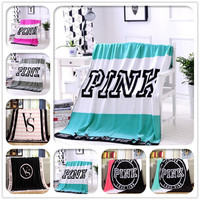 Hot Limited Cyan Color Pink VS Secret Blanket Victoria Warm Coral Fleece Blanket Throws Bed Sofa Blanket 130x150cm Free Shipping