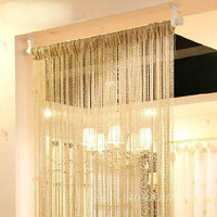 Curtain Style Silver Silk Curtain Living Room/Door/Window Partition Sheer Curtain