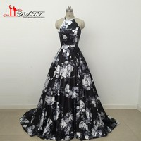 Real Photos Floral Print Prom Dress 2017 Sexy Halter Black prom dress Girl Party Black Satin Flowes Long Evening Gown LY299
