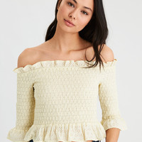 AE Allover Eyelet Smocked Off-The-Shoulder Top, Yellow