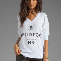 Wildfox Couture Wildfox #9 V Neck Baggy Beach Jumper in Clean White from REVOLVEclothing.com