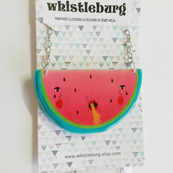 24 HOUR SALE - Watermelon Revenge // watermelon necklace // statement jewelry // Shrink plastic and polymer clay necklace // quirky jewelry