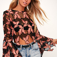 Whisper In Your Ear Black and Coral Embroidered Crochet Crop Top