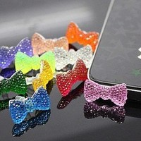 Eshop 5pc Bow Bing Crystal Earphone Jack Accessory Cellphone Charms Anti-dust Dustproof Earphone Audio Headphone Jack Plug Stopper for Iphone 4 4s Samsung Galaxy S2 S3 Note I9220 HTC All 3.5mm Ear Jack-color Random Rend:Amazon:Cell Phones & Accessories