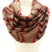 Aztec Chevron Print Infinity Scarf by Charlotte Russe - Multi