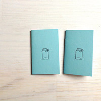 Small Notebooks: 2 Tiny Journals Set, Mason Jars, Stamped, For Him, For Her, Jotters, Mini Journals, Small Notebooks, - Set of 2