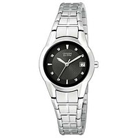 Citizen Ladies Eco-Drive Dress Watch - Stainless - Black Dial - Date