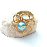 Vintage Flower Ring, Gold Tone Atomic Floral with Aqua Faux Pearl, Turquoise Blue Adjustable Ring, Boho Hippie Gypsy Jewelry,