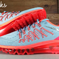 Nike Air Max 360 Running Shoes By Glitter Kicks - Customized With Swarovski Crystal Rhinestones - Grey/Orange/Red