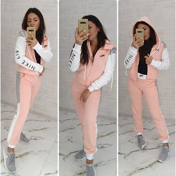 Adidas New Popular Women Casual Round Collar Top Pants Set Two-Piece