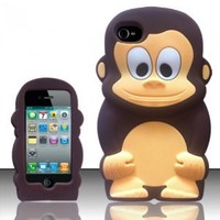 For iPhone 4G (AT&T/Sprint/Verizon/Cricket) - Monkey Style 3D Silicon Case - Brown Monkey SCMK