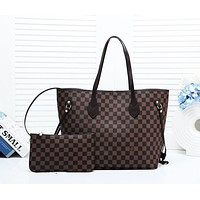 LV new lining hook female classic old flower shopping bag shoulder bag two-piece Coffee check