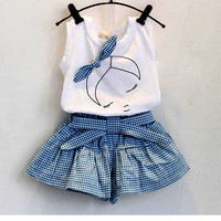 Baby girls clothing Sets  lace Cotton Sleeveless T-shirt+Shorts band kids clothes