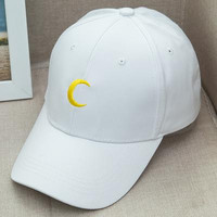 Sailor Moon Crescent Dad Hat Embroidered Baseball Cap Women Strapback Caps Bone Casquette Gorras Hip Hop Sun Visor Hat White