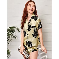 Tropical Print Satin PJ Set