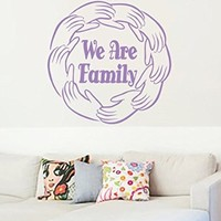 Wall Vinyl Sticker Decal Circle of Hands and Text We Are Family Nursery Room Nice Picture Decor Mural Hall Wall Ki637