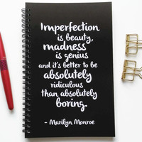 Writing journal, spiral notebook, bullet journal, black white, sketchbook, blank lined grid - Imperfection is beauty, Marilyn Monroe quote