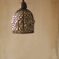 Caged Wire Pendant With Brown Fabric Cord