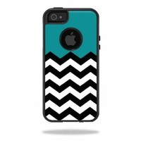 Mightyskins Protective Vinyl Skin Decal Cover for OtterBox Commuter iPhone 5/5s/SE Case Cell Phone wrap sticker skins Teal Chevron