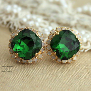 Swarovski Rhinestone stud Green Moss white opal Crystal,christmas gift,mother of the bride  - 14k plated gold post earrings