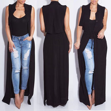 Fashion Spring/Summer  women's vest Europe sexy Casual Solid color chiffon cardigan X-long Coat
