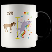Aunt Gift for Aunt Mug Auntie Gifts Aunt Birthday Present Aunt Coffee Cup Aunt Gifts from Niece Aunt Gift from Nephew Pole Dancing Unicorn Mug