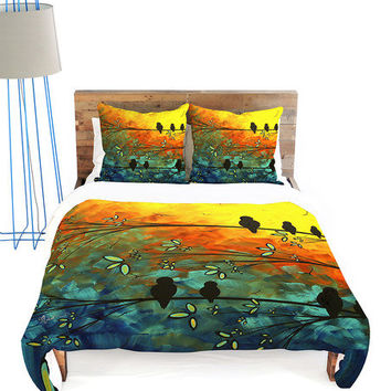 Yellow & Green Birds of a Feather Duvet Cover