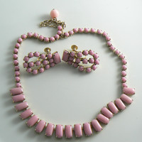 Pink Milk Glass Necklace Earring Set