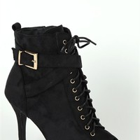 Single Sole High Heel Bootie with Lace Up Front
