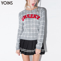 YOINS 2016 New Women Fashion Letter Printing Plaid Pullover Jumper Sweater Casual Long Sleeve O-neck Knit Autumn Winter Sweater