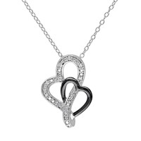 Diamond Accent Sterling Silver Two Tone Heart Pendant Necklace (White)