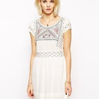 Mango Embroidered Smock Dress