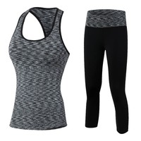YD New GYM Women Sport Suit Fitness Tights Set Quick Dry Compression Vest Workout Tracksuit Clothes Top 3/4 Leggings Yoga Set
