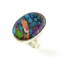 Multi-Turquoise Sterling Silver Oval Ring