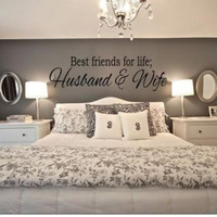 BEST FRIENDS FOR LIFE HUSBAND & WIFE Wall Art For Couples Bedroom Decal Quote Words Lettering Decor