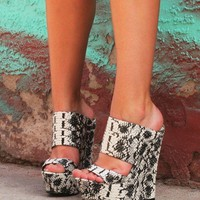 """Pacs Black & White Snake Double Strap Slip On Wedge Shoes - 6"""" Heels Back In Stock"""