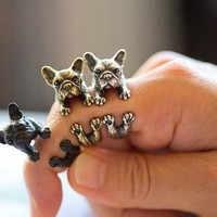 Retro Animal Handmade French bulldog ring Ring Fashion Antique Gold Silver Vintage Adjustable Rings for women JZ315