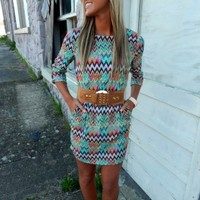 Belted Chevron Print Dress