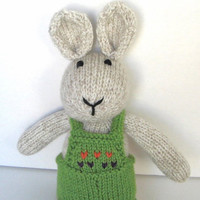 """Stuffed Bunny Doll, Ready To Ship, Hand Knit Easter Bunny Rabbit Baby Girl or Boy Toddler Gift Easter Bunny Toy Stuffed Animal Kids Toy 15"""""""